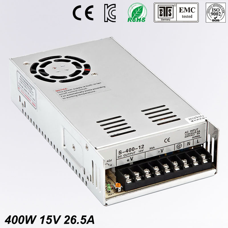 все цены на 15V 26.5A 400W Swching Poweitr Supply Driver for LED Strip AC 100-240V Input to DC 15V free shipping онлайн