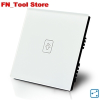 Touch Switch 1 Gang 2 Way UK Standard Crystal Glass Panel Single FireWire Touch Wall Switch