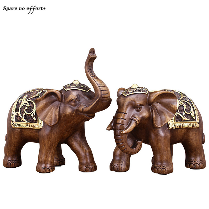 Office Shop Front Desk Decor A Pair of Elephant Figurines Mascot Statue Home Decoration Accessories Lucky Ornaments Sculptures