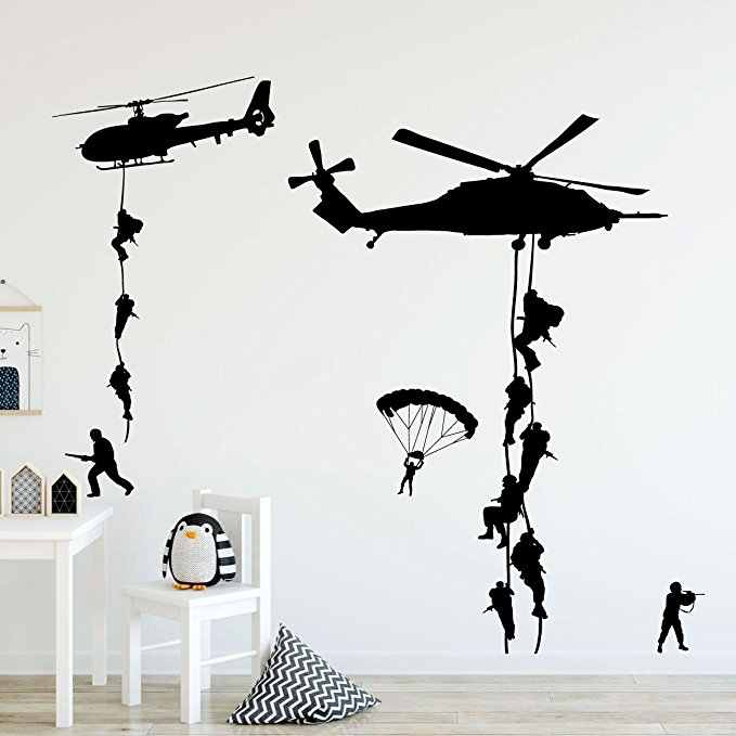 Helicopter Army Soldier Wall Stickers Vinyl Art Decals Teens Boys Men Military Fans Bedroom Home Decoration