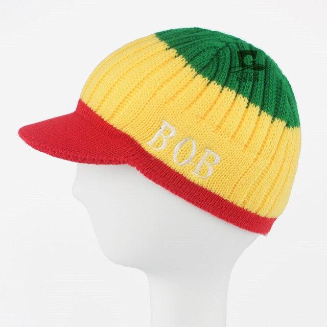 7e170bf5f73 Jamaica Reggae Rasta Style Delux Visor knit Bob Marley Beanie Kufi Hat  knitted Cap RH-125