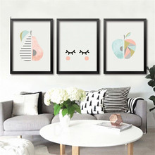 Modern Minimalist Fruit Art Canvas Prints Apple Pear On Canvas Wall Pictures For Baby Bedroom Modern Home Decor No Frame