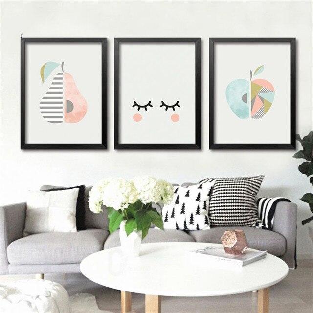 Modernen Minimalistischen Obst Kunst Leinwand Apple Birne Auf Leinwand  Wandbilder Für Baby Schlafzimmer Moderne Wohnkultur Kein