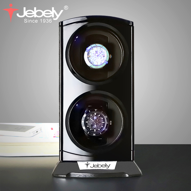 Jebely 새로운 도착 블랙 더블 시계 와인 더 자동 시계 시계 상자 보석 시계 디스플레이 수집기 스토리지 LED