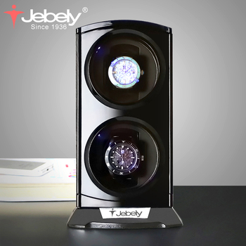 цена Jebely New Arrival Black Double Watch Winder for automatic watches Watches box Jewelry Watch Display collector storage with LED онлайн в 2017 году