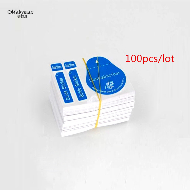 1/50/100pcs Blue Dust Removal Phone Screen Cleaning Tool All Phones 3 in 1 Dust-absorber + Guide Sticker Clear Dust on Screen