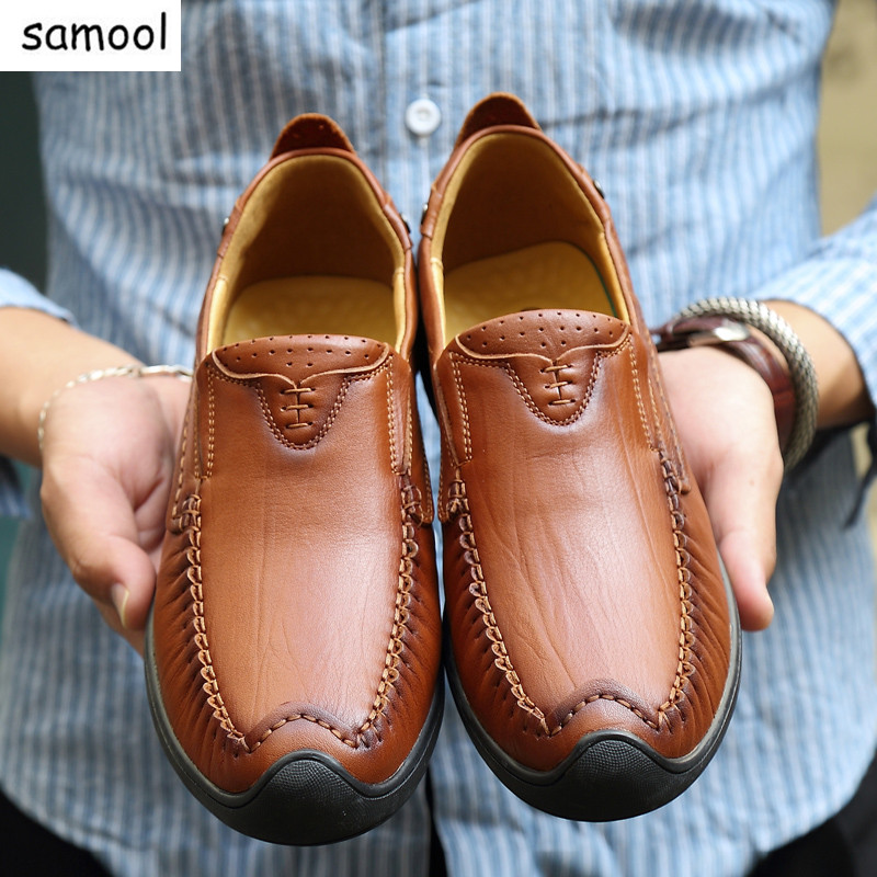 Summer Breathable lazy Men Loafers Handmade Moccasins Genuine Leather Casual Shoes Slip On Flats Mens Flats Driving Shoes 14 handmade genuine leather men s flats casual haap sun brand men loafers comfortable soft driving shoes slip on leather moccasins