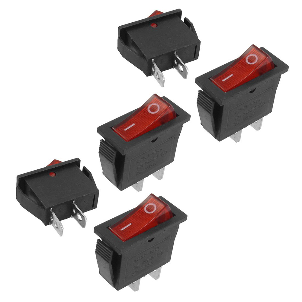 Promotion!  5 pcs 2 Pin SPST Red Neon Light On/Off Rocker Switch AC 16A/250V 20A/125V 10pcs ac 250v 3a 2 pin on off i o spst snap in mini boat rocker switch 10 15mm