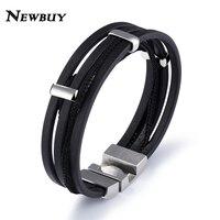NEWBUY Vintage Design Multilayer Genuine Leather Wrap Bracelet For Men Punk Style Male Stainless Steel Bracelet