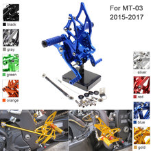 CNC Aluminum Adjustable Rearsets Foot Pegs For Yamaha MT-03 MT 03 2015 2016 2017