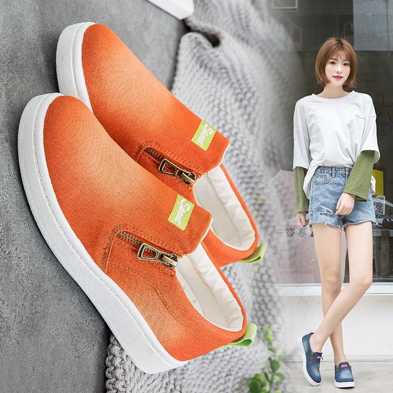 Summer Denim Fashion Women's Casual Shoes Korean unisex Canvas Shoes Women's Large Size Casual Loafers Flat Shoes 2