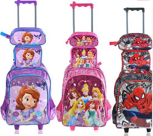 ФОТО Children backpack with Wheels kids Trolley Bags For School Rolling backpack Bag For girl boy Travel Trolley luggage Backpack bag