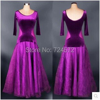 New arrival ballroom dance costume half sleeves Velvet long dress for women ballroom dance competition dress 4 kinds of colors