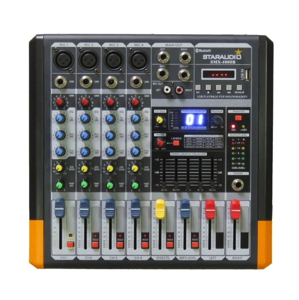 STARAUDIO Professional 4 Channel Powered Mixing Console DJ Audio Amplifier  Mixer For Karaoke System SMX-4000B