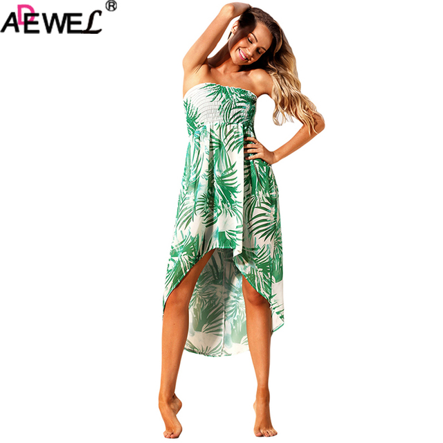 Adewel Flroal Print Women Dresses Strapless Sleeveless Midi Beach Dress Y Convertible Boho Bohemian Summer