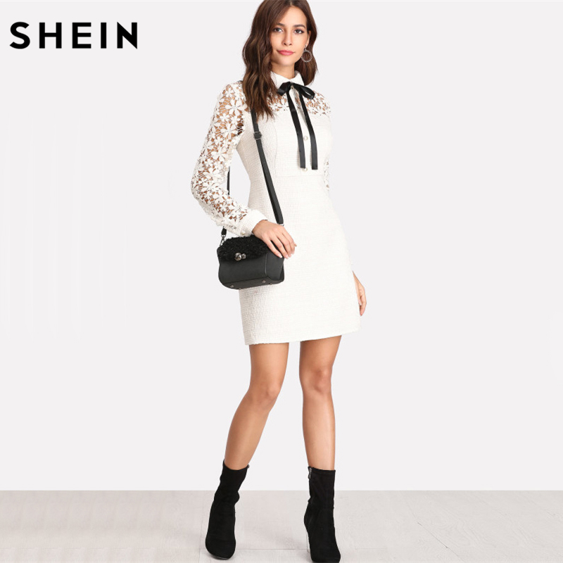 a81f1e36fe6 SHEIN Elegant Ladies Dresses White Long Sleeve Dress Beaded Zipper Back  Sheath Dress Daisy Lace Sleeve Tie Neck Tweed Dress-in Dresses from Women s  Clothing ...
