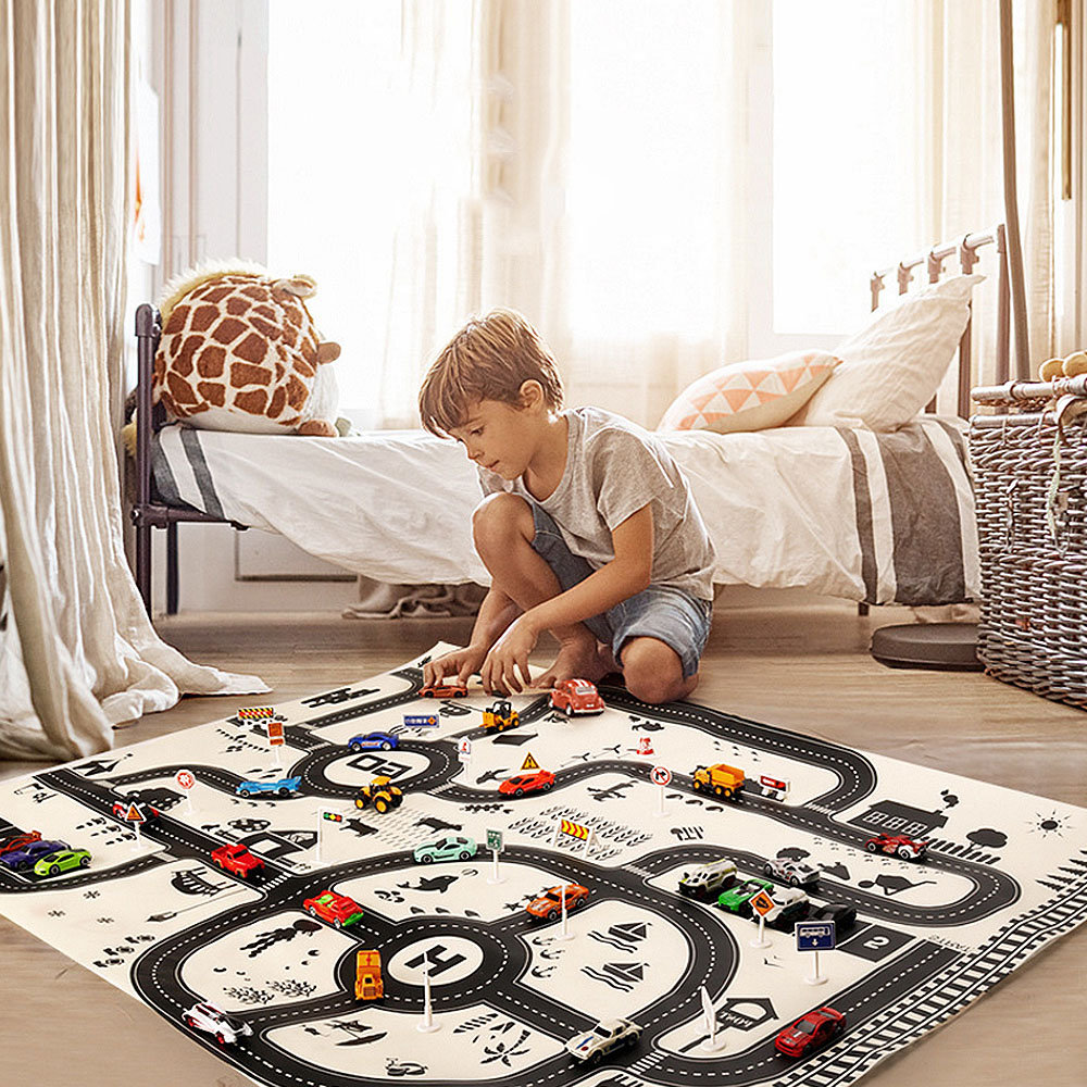 Modern 130*100CM Kids Portable Car City Scene Taffic Highway Map Play Mat Educational Toys For Children Games Road Carpet