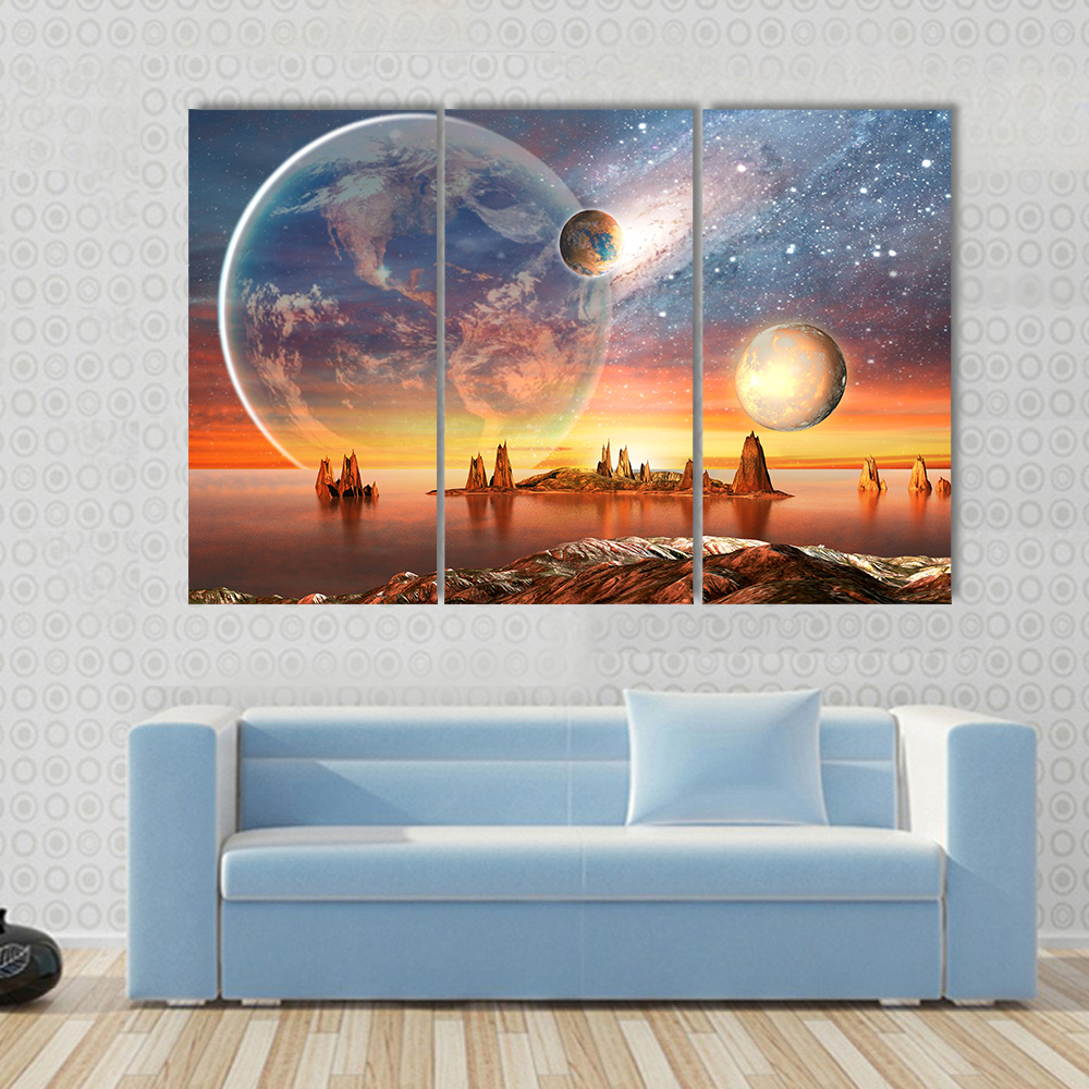 3 pcs set large framed alien planet with planets canvas print painting modern moon mountain wall. Black Bedroom Furniture Sets. Home Design Ideas