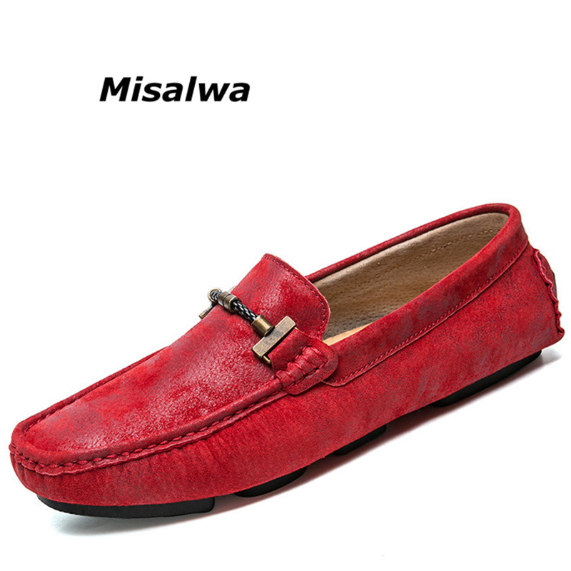 Misalwa Hot Sale Men s Driving Shoes Premium Genuine Leather Driver Driving Style Loafer Red Soft