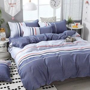 Image 1 - FUNBAKY 3/4 teile/satz Einfache Stil Streifen Tröster Bettwäsche sets Baumwolle Bettbezug set Bett Leinen Auskleidungen Keine Füllstoff home Textil