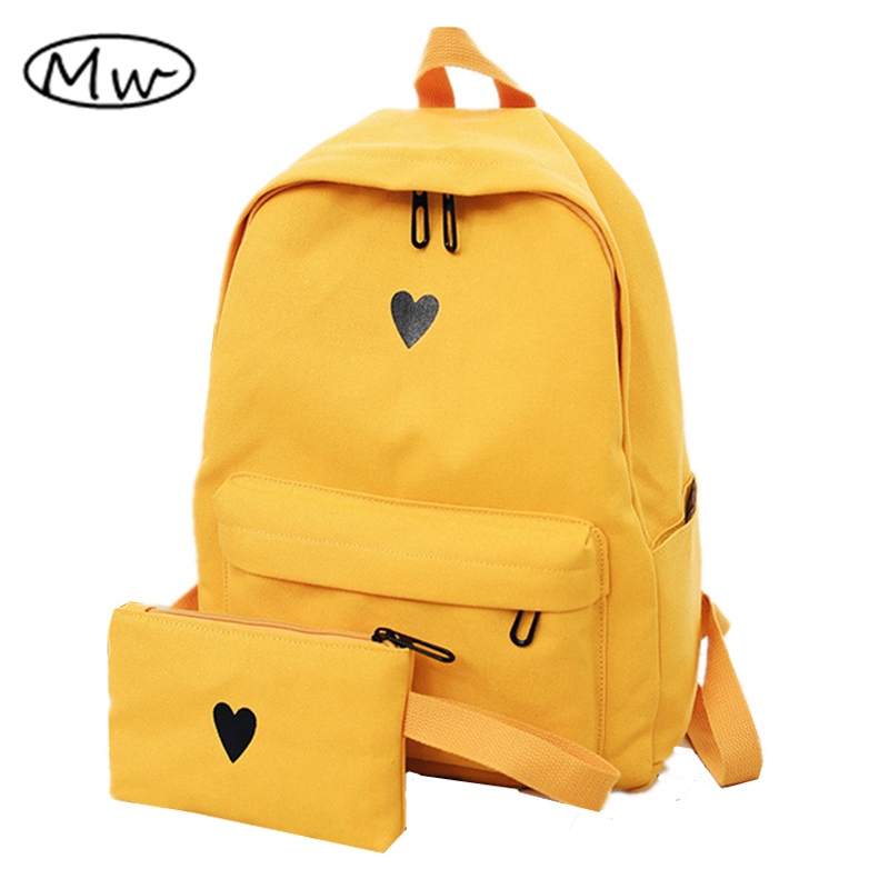 Moon Wood High Quality Canvas Printed Heart Yellow Backpack Korean Style Students Travel Bag Girls School Bag Laptop Backpack moon hand muff style wood 000