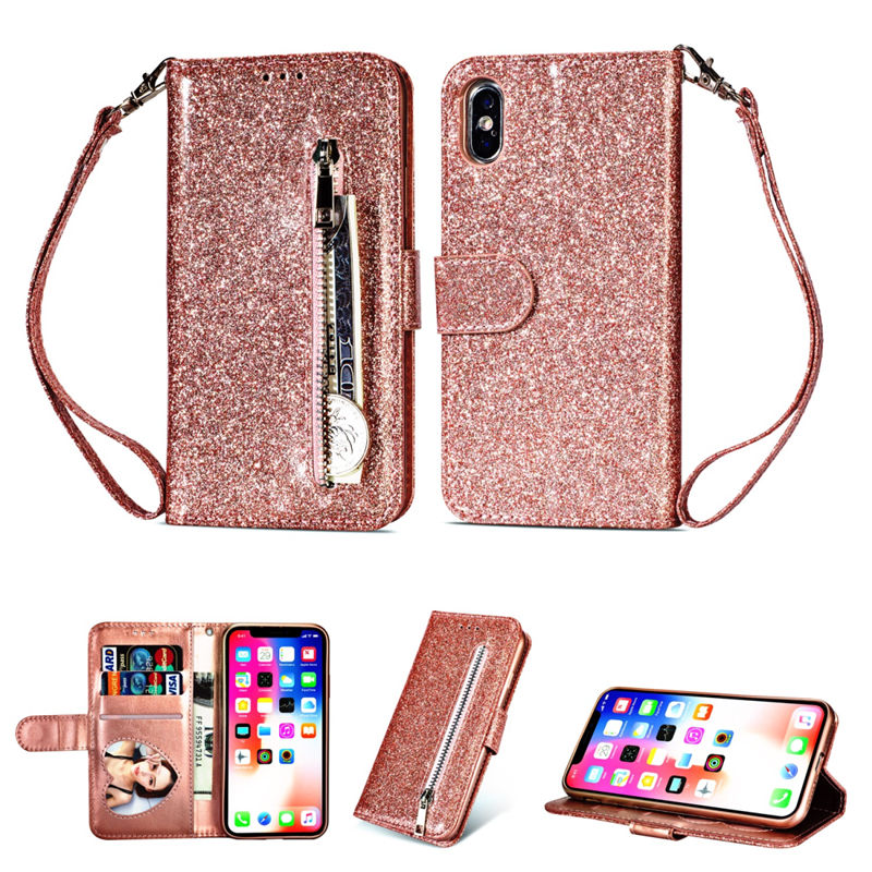 For <font><b>Iphone</b></font> X XR XS 11 Pro Max Wallet PU <font><b>Leather</b></font> Holder Stand Silicone Case For 8 7 <font><b>6</b></font> 6S Plus Glitter With Card Slot Flip <font><b>Cover</b></font> image