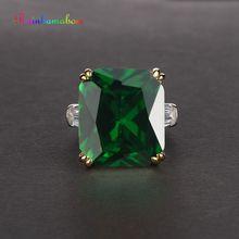 Rainbamabom Real 925 Sterling Silver Emerald Gemstone Birthstone Engagement Wedding Couple Rings Jewelry Wholesale Size 5-12 цена в Москве и Питере