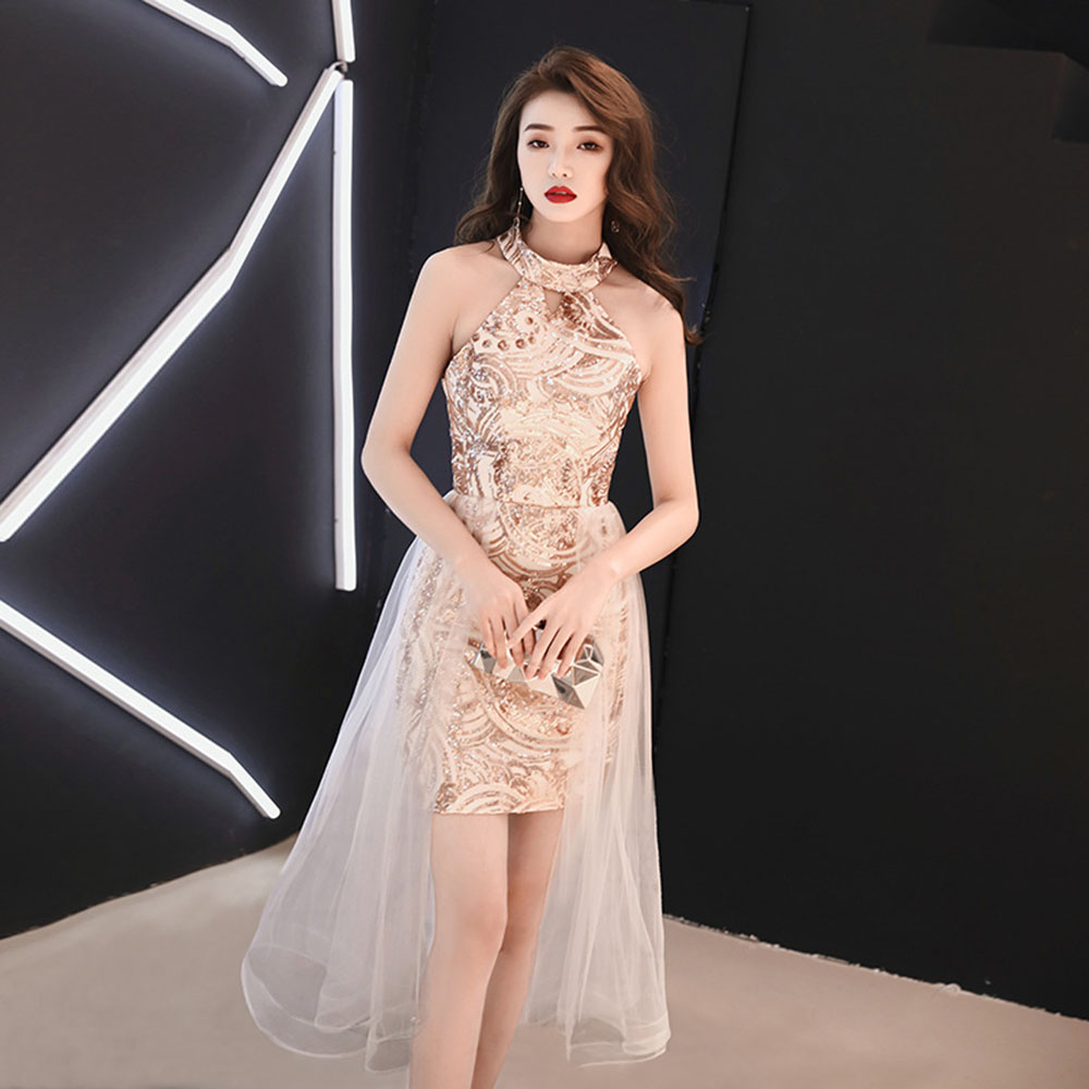 Sequins Mesh Patchwork Cocktail Gown Sexy Halter Robe De Soiree Sleeveless Women Formal Dress Hollow Out  Abendkleider