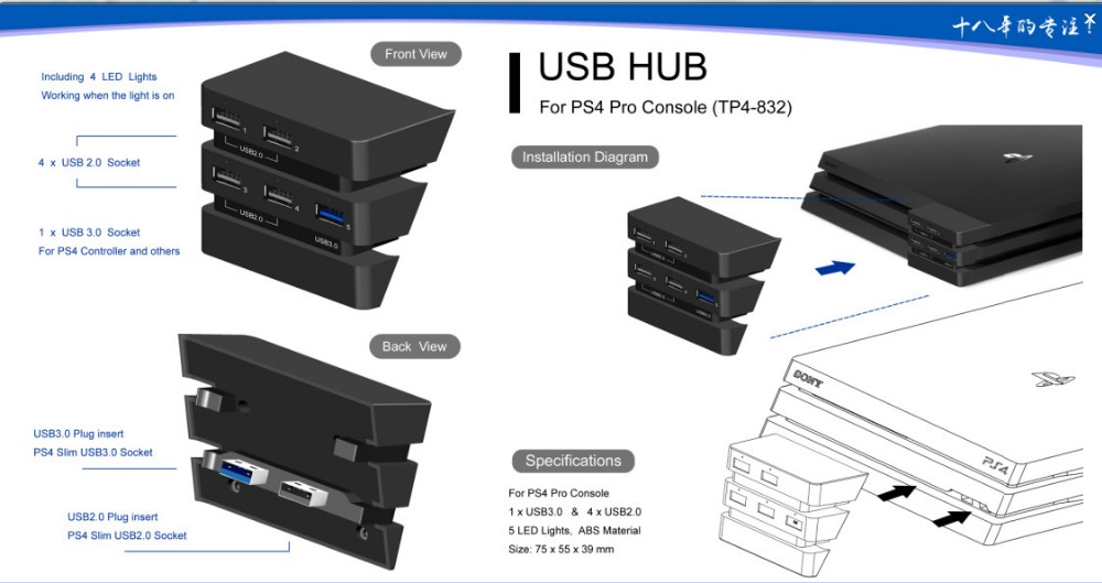 Foleto New PS4 Pro Hub USB Ports W/ 5 USB Port High Speed USB With (1*3.0) (4*2.0) USB Ports Cable Adapter For Sony Playstation