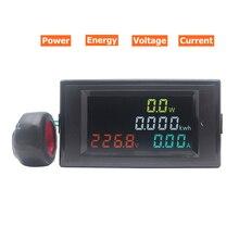 דיגיטלי HD צבע מסך 180 מעלות ללא רבב LED AC וולט אמפר ואט אנרגיה מד AC 110V 220V 0.01 100A מד מתח מד זרם