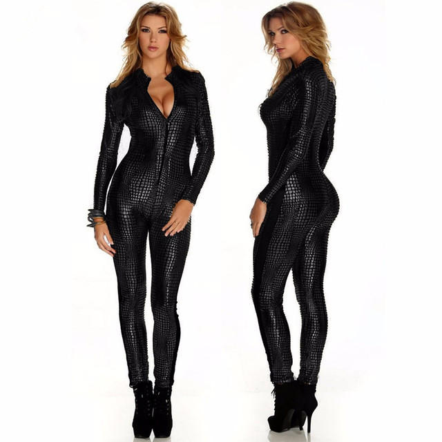 Sexy Catsuit Long Sleeve Jumpsuit For Women Vinyl Leather Jumpsuit Hot Sale New Black Sliver Gold Sexy Leather Bodysuit W207980