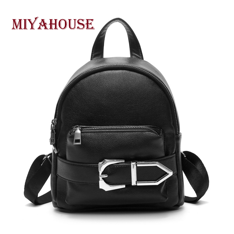 Miyahouse Mini Double Zipper Women Single Shoulder Backpack Pu Leather High Quality Rucksack For Female Casual Lady Rucksack