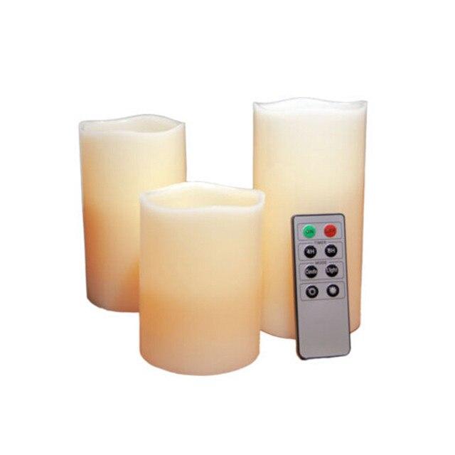 3 x LED de Control Remoto Luz de las Velas Sin Llama Parpadeo Cera Perfumada de Vainilla Partido Electronic Decoartion Mood Lamp Set