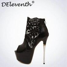Новый бренд deleventh/сексуальная шнуровка Насосы открытый носок 6 см высокая платформа в сдержанном стиле модная обувь из искусственная кожа PU ночные клубы черный, белый цвет размер 40