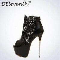 Nueva Marca DEleventh Cordón Sexy Bombas Peep Toe 6 CM de Alto plataforma Conciso PU de LA Manera Discotecas Zapatos de Cuero Negro Blanco Tamaño 40