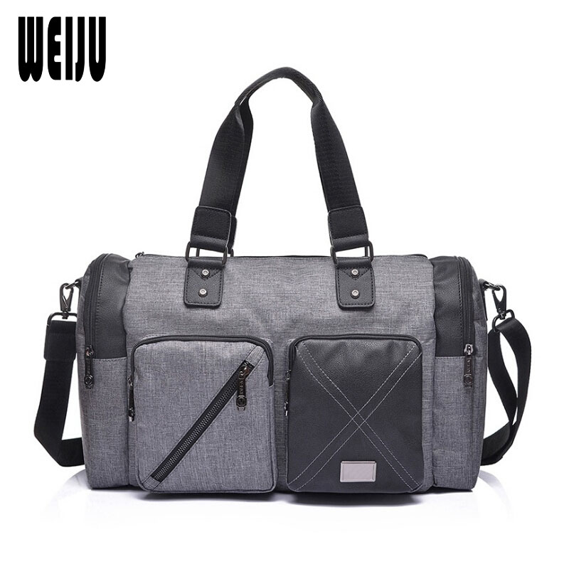 WEIJU Fashion Business Men Travel Bags Duffle Bag Waterproof Canvas Shoulder Messenger Bag Travel Handbag Male mala viagem