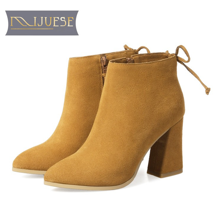 MLJUESE 2018 women boots cow suede Elastic band Stretch Fabric high heel autumn spring ankle boots