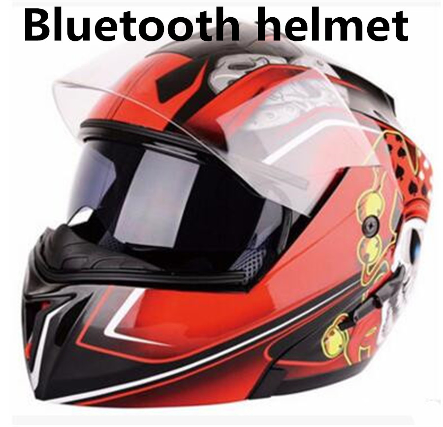 Motorcycle Helmet Flip Up ATV Motocross Bluetooth Headset Crash Vespa Casque Bluetooth Motocross Racing Helmet