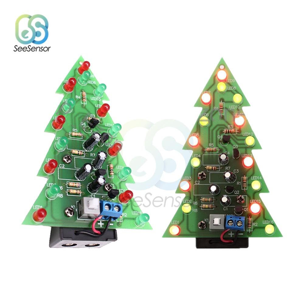 Christmas Tree LED flashing light DIY Kit Red Green Flash Circuit LED