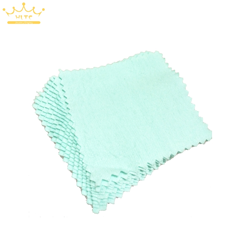 10pcs/pack Wholesale Green Color Fabric Silver Polish Cloth Care For 925 Silver Jewelry 7.8*7.8cm Top Quality