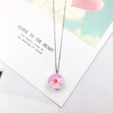 Authentic 925 Sterling Silver Peach Flower Pendant Necklace Glass Ball Plant Silver Chain Necklaces for Women Girls Jewelry Gift