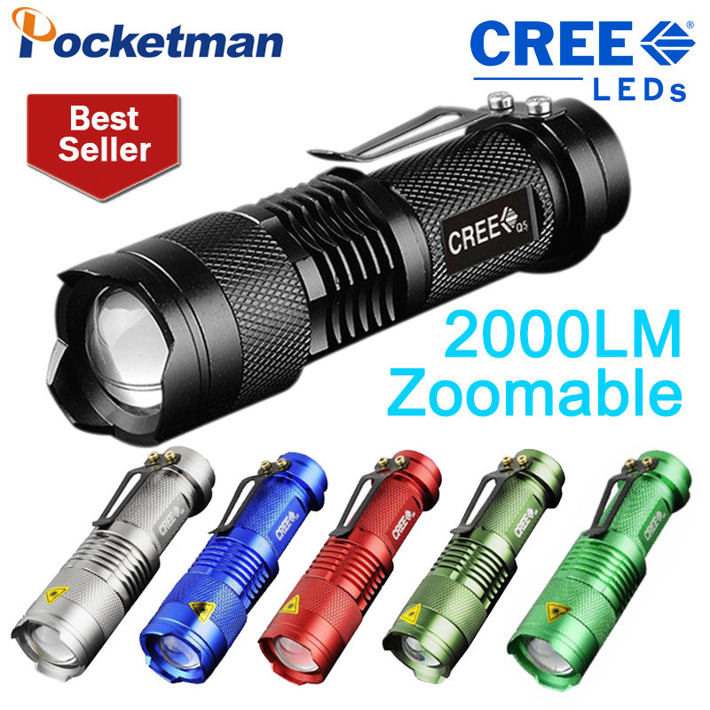 CREE Q5 2000 Lumen LED Flashlight Torch Lanterna Tactical Penlight Zoomable In Out Lights Lamp mini rechargeable led flashlight led cree q5 lanterna high power torch 2000 lumen zoomable tactical penlight lantern bike light
