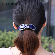 Women headwear new rhinestone hair clip large barrettes ponytail holder bow accessories for women