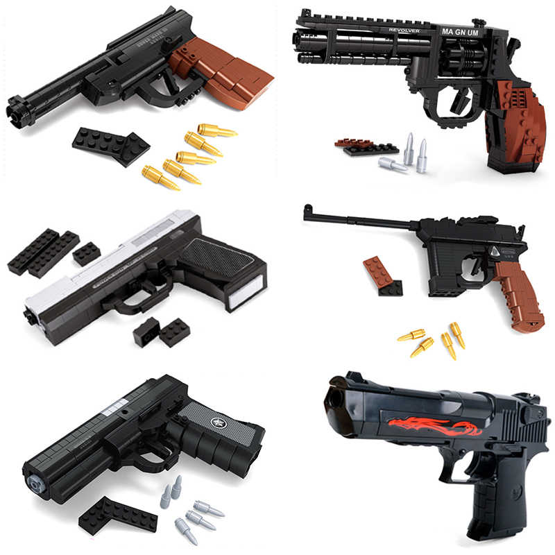 Upgrade Toy Gun Pistol Revolver Model Desert Eagle Cs Toys Pack Weapon Legoing Building Blocks Kids Children Boys Bricks Gift
