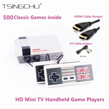 Ретро Семья HD видео классический Портативный игры игроки Встроенный 500 игр HD Выход двойной геймпад управления HDMI Mini ТВ игровой консоли