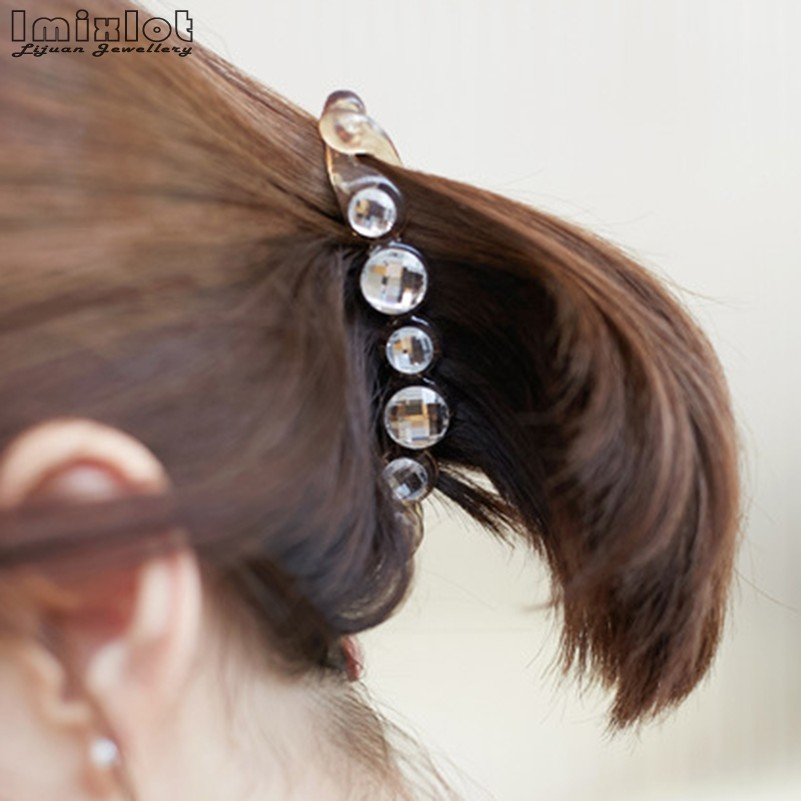 DIAMANTE HAIR CLIP *FREE POSTAGE*QUICK DISPATCH 2 pieces BANANA CLIP BLACK