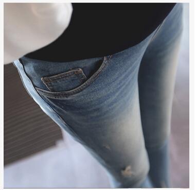 Colore Solido Di Maternità Dei Jeans Denim Blu Pantaloni Di Maternità Per Gravidanza 2017 Nuovo Vestiti Primaverili Per Le Donne Incinte