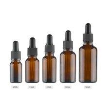 10 adet/grup kahverengi damla damla Amber şişe cam aromaterapi sıvı damlalık esansiyel temel masaj yağı pipet doldurulabilir şişeler
