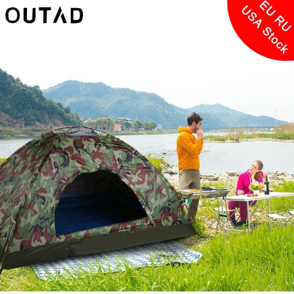Открытый Портативный один Слои палатка вигвам камуфляж 2 человек Водонепроницаемый легкие пляжные Рыбалка Охота Бесплатная доставка