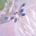 Luxo Cristal Jóias Broches Libélula Anti Banhado A Ouro Cubic Zirconia Rhinestone Presente Broche de Pino de Traje broches pinos hijab
